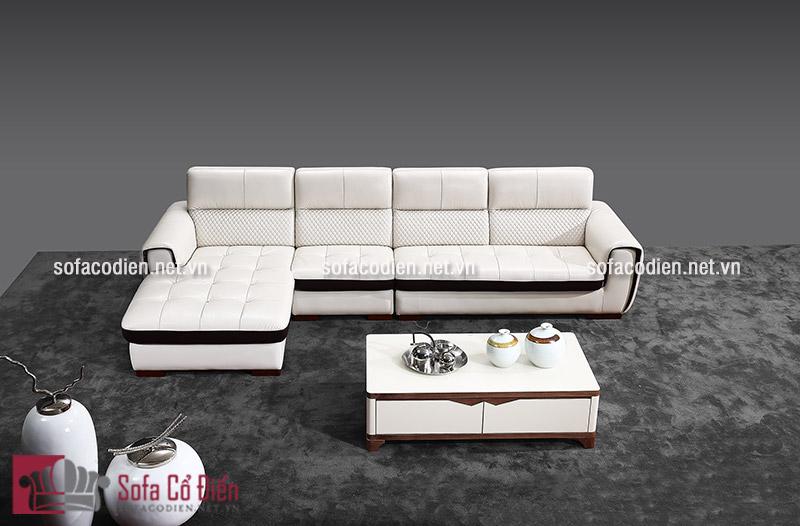 Ghế sofa nhập khẩu màu trắng chất liệu da sang trọng