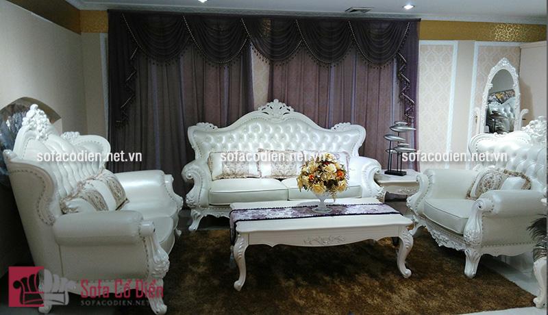 Ghế sofa nhập khẩu màu trắng theo phong cách cổ điển Châu Âu quý phái