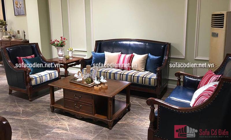 Ghế sofa phòng khách cổ điển gam màu sậm cho không gian phòng khách nhà biệt thự Châu Âu