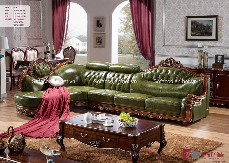 Ghế sofa phong cách cổ điển màu xanh xinh đẹp
