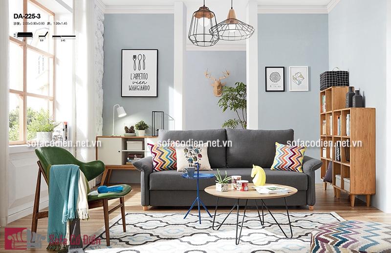 Ghế sofa đẹp màu xám thiết kế đa năng có thể kéo dài thành chiếc giường tiện dụng