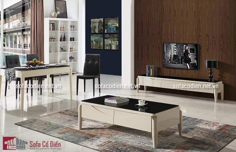 Mẫu bàn trà sofa gỗ mặt kính với thiết kế đơn giản, nhẹ nhàng mà tiện nghi