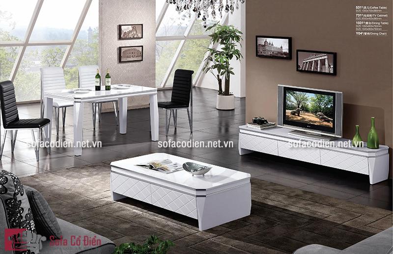 Mẫu bàn trà sofa gỗ mặt kính ấn tượng