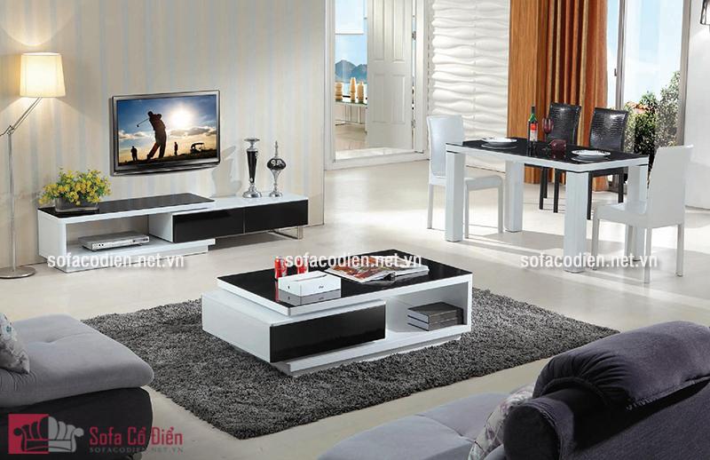 Mẫu bàn trà gỗ mặt kính được thiết kế đơn giản, hiện đại