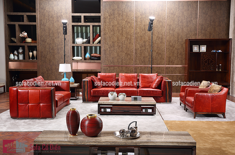 Mẫu ghế sofa màu đỏ bằng chất liệu da cao cấp với thiết kế dạng chữ U phù hợp với những căn phòng khách rộng rãi