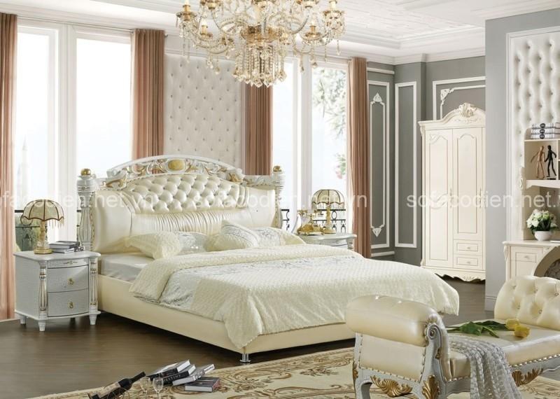 Giường ngủ bằng da cao cấp đẹp sang trọng và êm ái