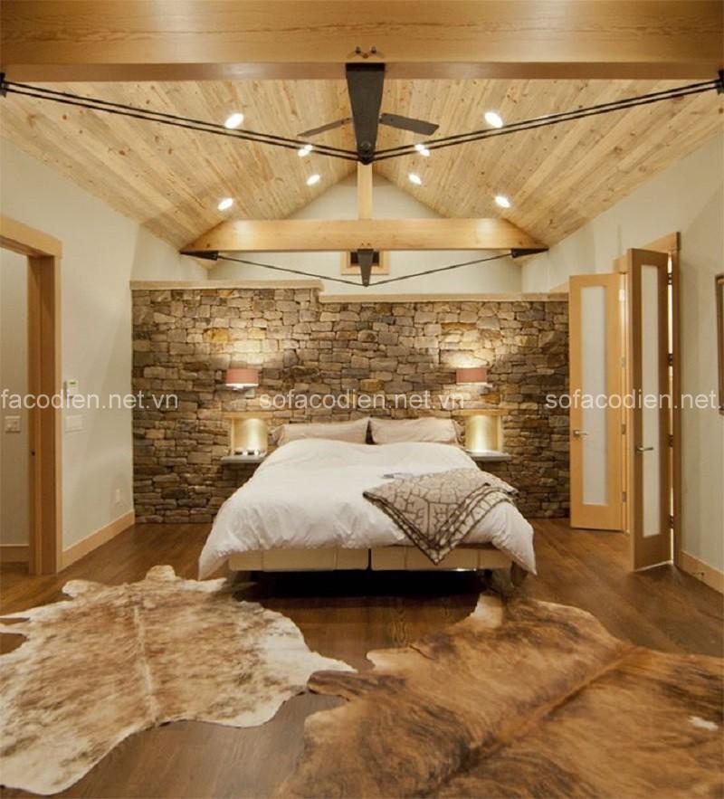 Thu hút mọi ánh nhìn bởi tường đá và gạch thô trong phòng ngủ